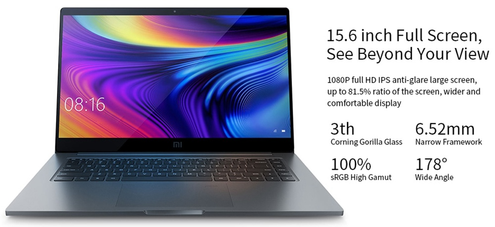 Xiaomi Mi Notebook Pro 2020 Intel Core i7-10510U 15.6 Inch 1920 x 1080 FHD Screen NVIDIA GeForce® MX350 Windows 10 16GB DDR4 1TB SSD Full Size Backlight Keyboard - Gray
