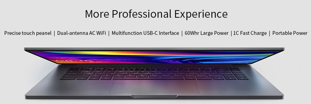 Xiaomi Mi Notebook Pro Enhanced Edition Laptop Intel Core i7-10510U 15.6 Inch 1920 x 1080 FHD Screen NVIDIA GeForce® MX250 Windows 10 16GB DDR4 512GB SSD Full Size Backlight Keyboard - Gray