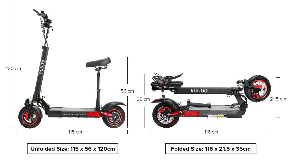 "KUGOO KIRIN M4 PRO Folding Electric Scooter 10"" Off-road tyre 500W Brushless Motor 48V 13Ah Battery 3 Speed Modes Dual Disc Brake Max Speed 45KM/h LED Display 60KM Long Range - Black"