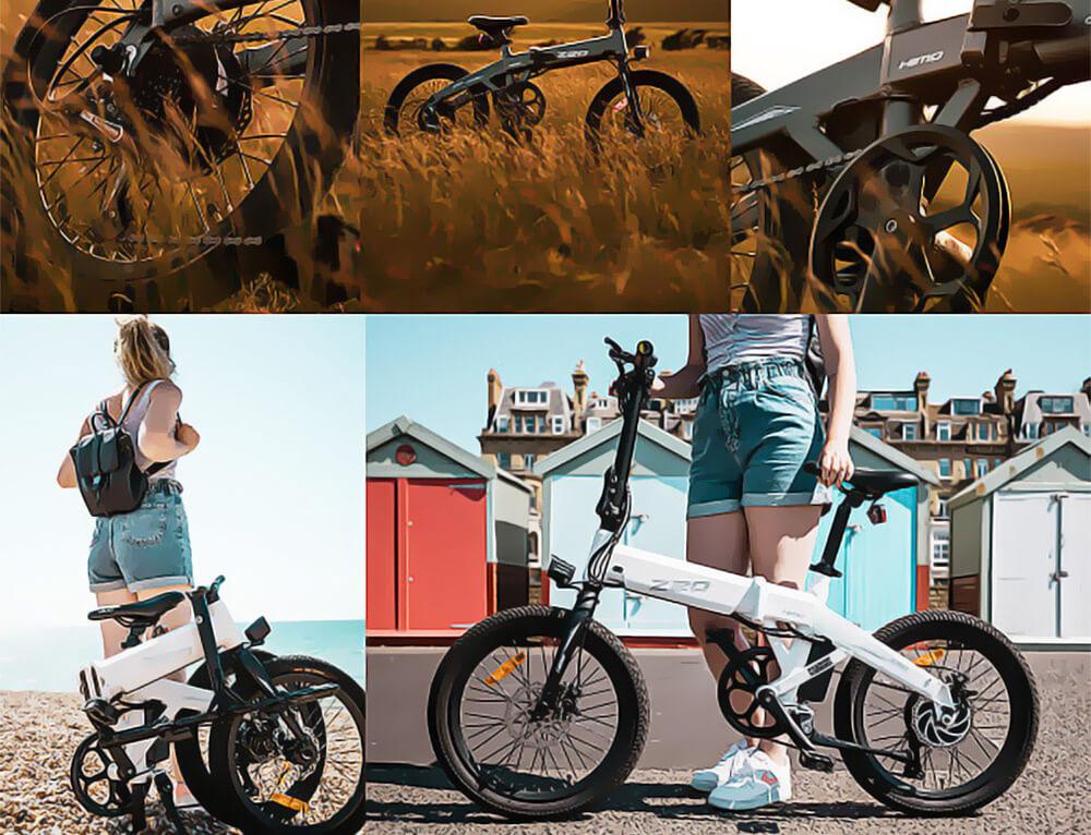 Bicicleta eléctrica plegable HIMO Z20 Neumático de 20 pulgadas Motor de 250 W CC Hasta 80 km Alcance Batería extraíble Shimano Transmisión de 6 velocidades Pantalla inteligente Freno de disco doble Versión CN - Gris