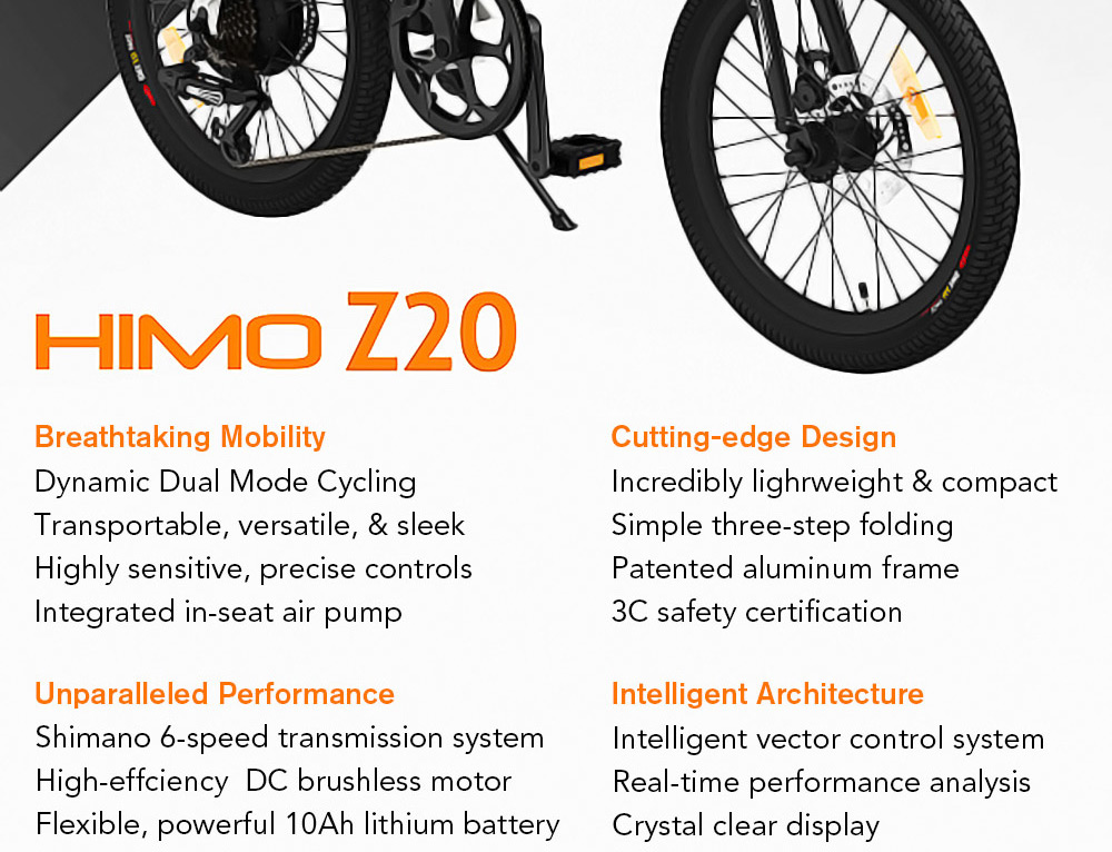 HIMO Z20 Folding Electric Bicycle 20 Inch Tire 250W DC Motor Up To 80km Range  Removable Battery Shimano 6-speed Transmission Smart Display Dual Disc Brake Europe Version - Rose Gold