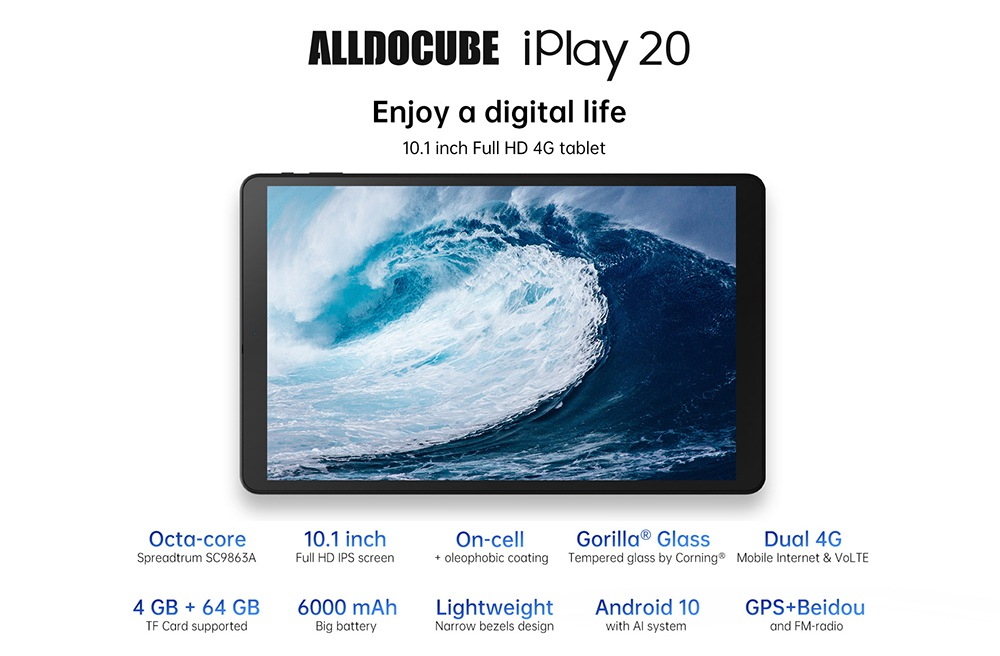 ALLDOCUBE iplay20 4G LTE Tablet PC UNISOC SC9863A Octa Core 10.1 Inch 1920 x 1200 IPS Screen Android 9.0 4GB RAM 64GB ROM Dual Camera 6000mAh Battery  - Black