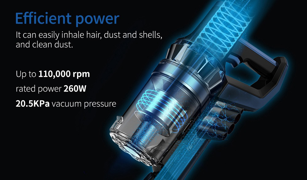 Proscenic P10 Handheld Wireless Vacuum Cleaner Portable Rechargeable Home Vacuum Cleaner Cyclone Filter Cleaner Dust Collector - Blue