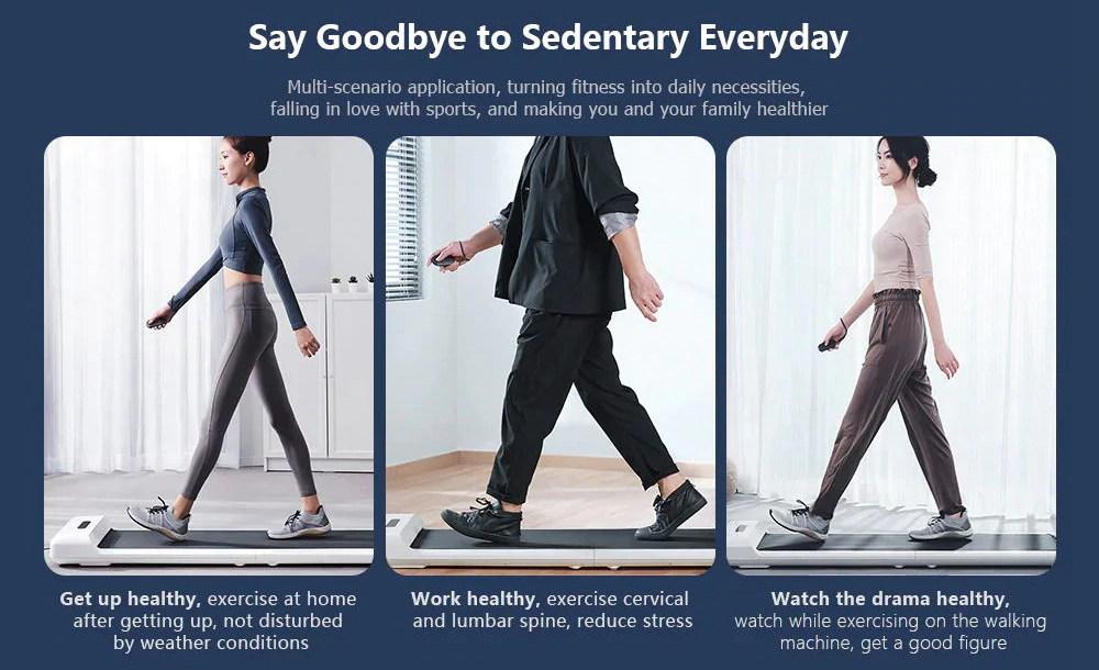 WalkingPad S1 Smart Foldable Walking Pad Treadmill Gym Running Fitness Equipment Intelligent APP Feet Sensory Speed Control LED Display Low Noise From Xiaomi Youpin - White