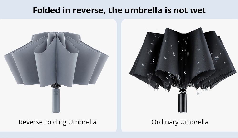 90FUN Portable Fully Automatic Reverse Folding Lighting Umbrella Anti-UV UPF50+ Windproof Wind Resistant Umbrella Three Folding From Xiaomi Youpin - Black