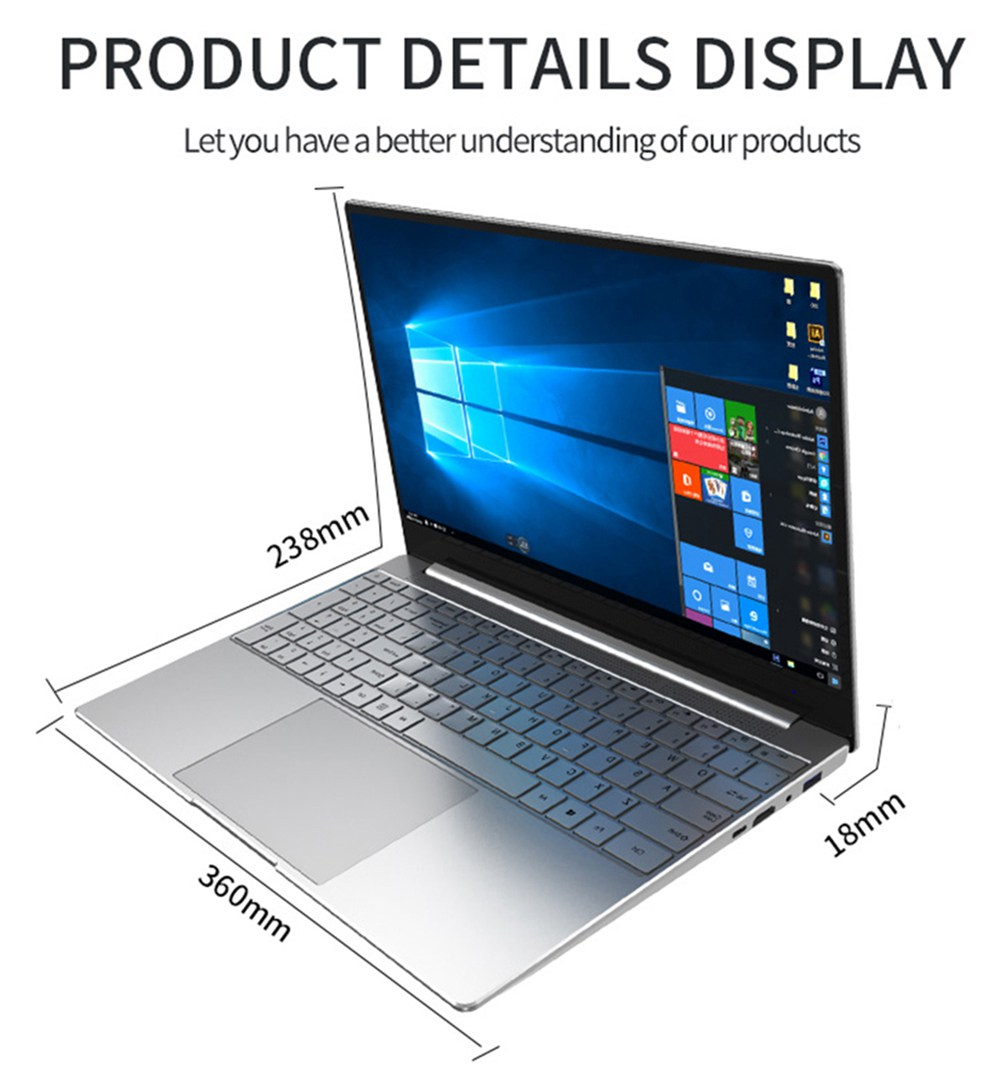 CENAVA F158G Laptop Intel Celeron J410515.6 Inch 1920 x 1080 IPS Screen Intel UHD Graphics 600 Windows 10 8GB DDR4 256GB SSD Full Size Backlit Keyboard English Version - Silver