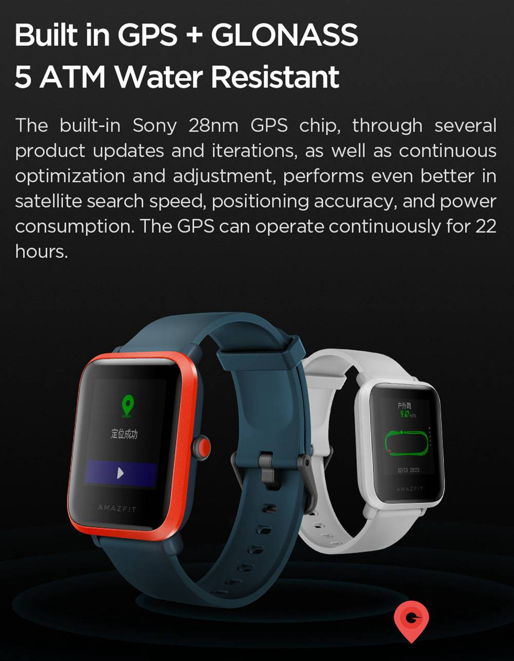 Huami Amazfit Bip S Smartwatch Heart Rate 1.28 Inch Transflective Color TFT Touch Screen IP68 Water Resistant 40 Days Standby GPS + Glonass Positioning Support Multi-language - Black