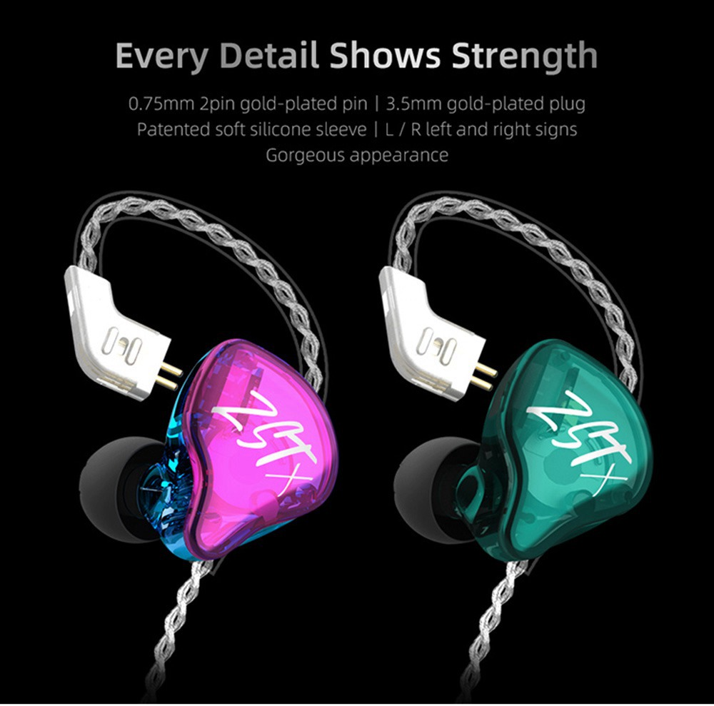 KZ ZST-X Headset 1BA+1DD Drivers Hybrid HIFI Bass Earbuds In-Ear Monitor Noise Cancelling Sport Earphones Silver Plated Cable - Purple
