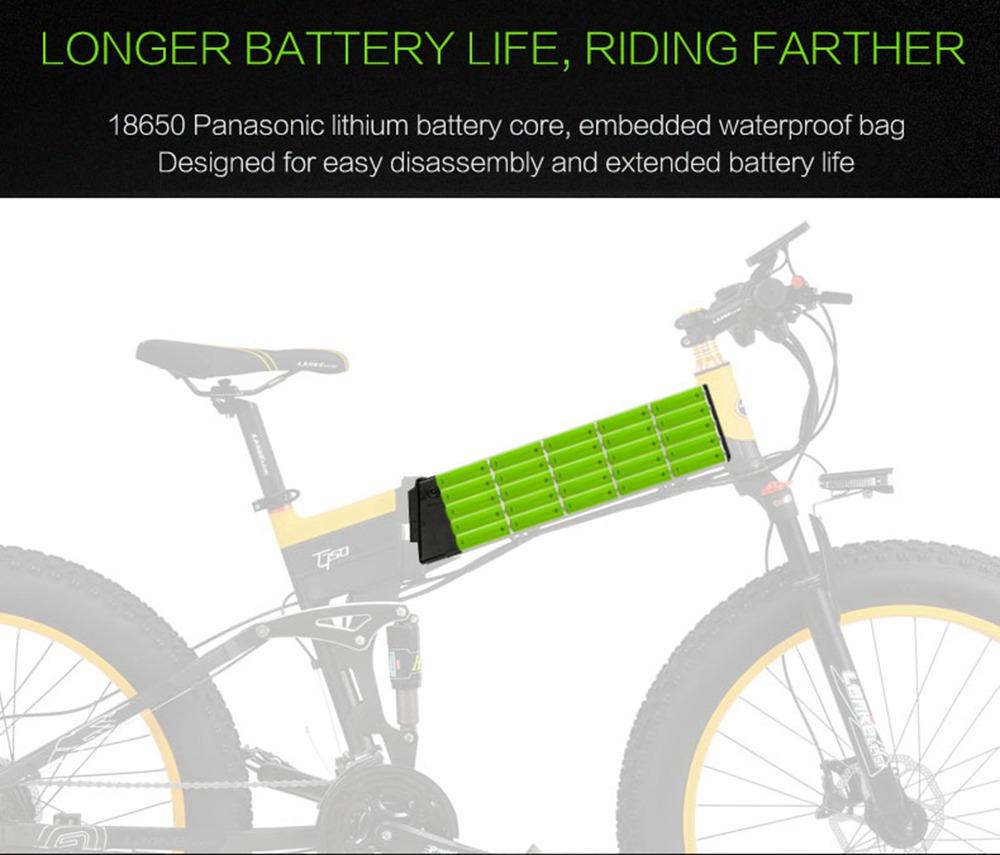 LANKELEISI XT750 Plus Folding Electric Bike Bicycle 48V 12.8AH 500W 26X4.0 Fat Tire Aluminum Alloy Frame Shimano Gear Shift Max Speed 40km/h IP54 100KM Mileage Range - Black Yellow