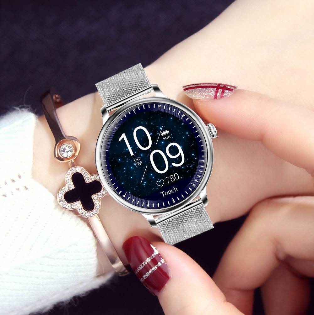 Makibes NY12 Women Smartwatch Blood Pressure Monitor 1.08 Inch IPS Screen IP67 Water Resistant Heart Rate Sleep Tracker Metal Strap - Silver