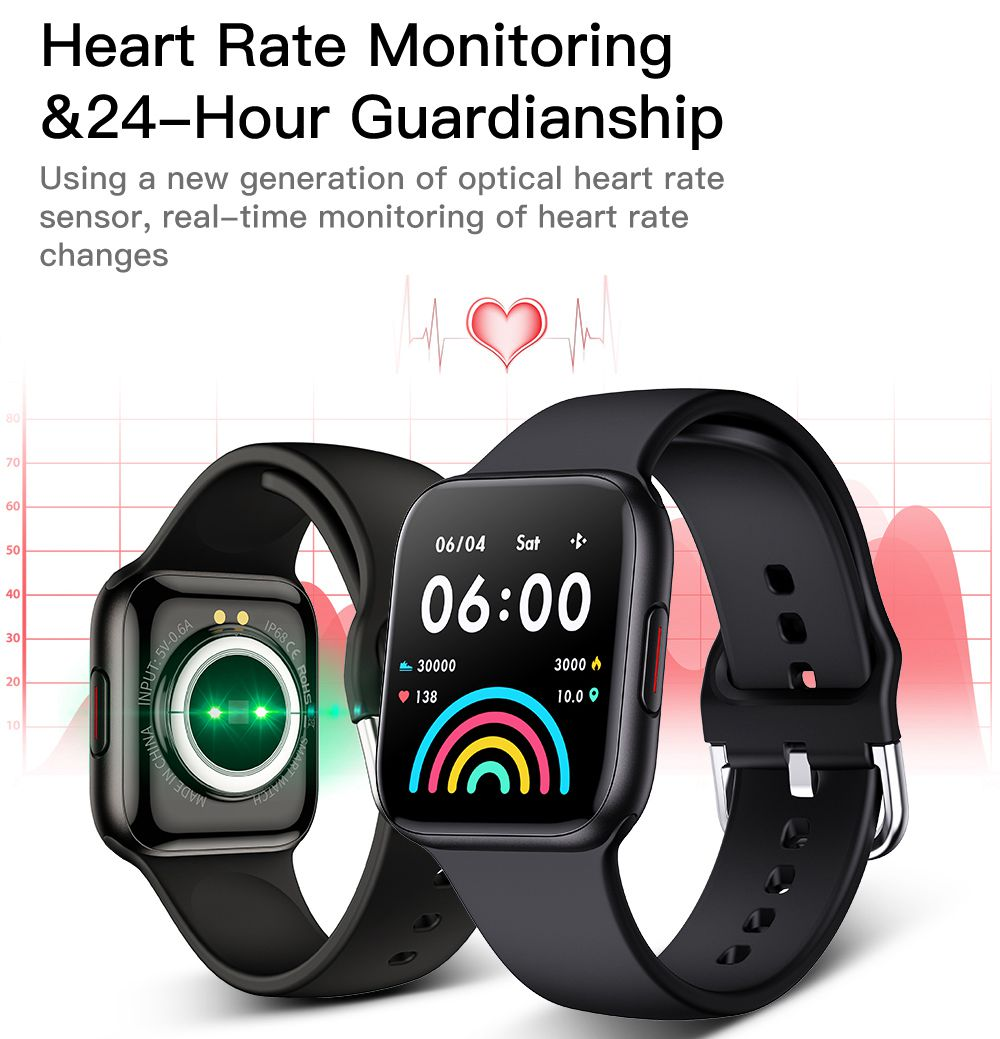 Makibes QY01 Smartwatch Blood Pressure Monitor 1.54 Inch TFT Color Screen IP67 Water Resistant Multi-language Heart Rate Sleep Tracker Silicon Strap - Black