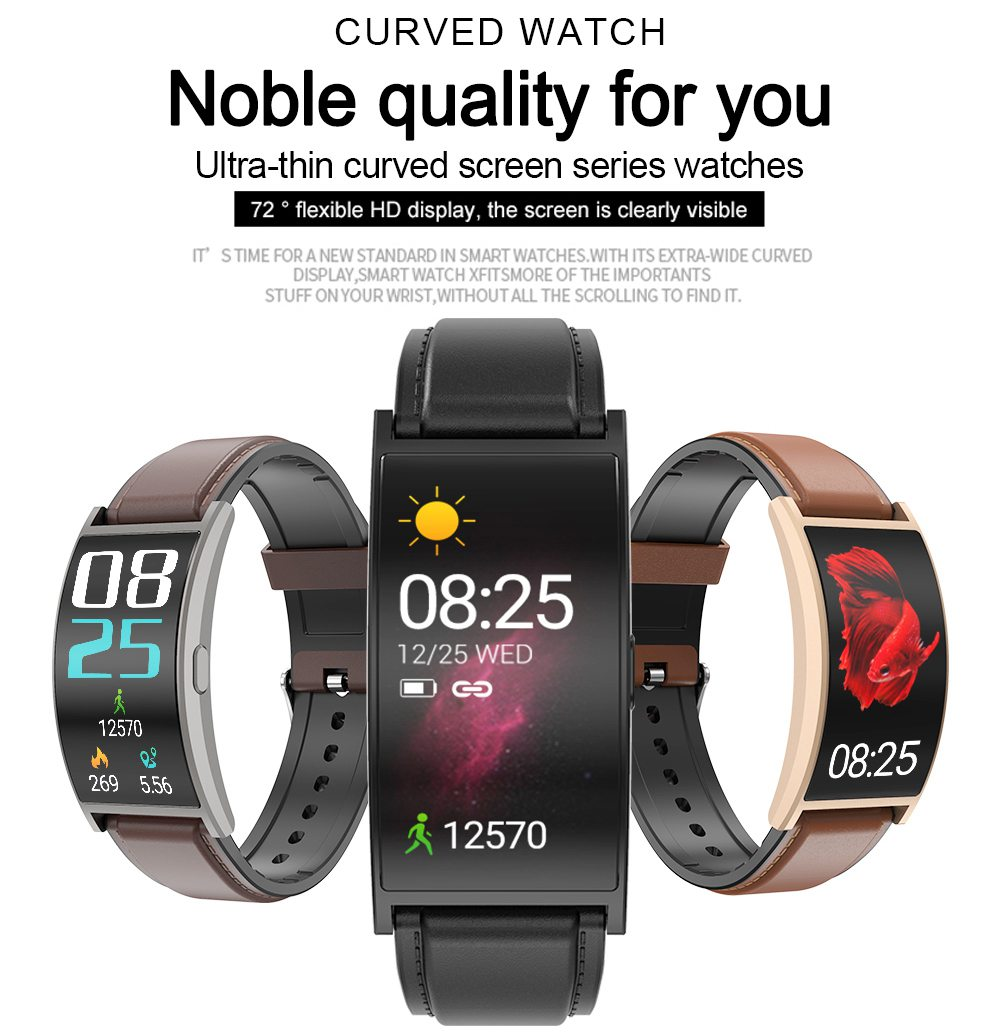 Makibes T20 Smartwatch Blood Pressure Monitor 1.5 Inch Curved Screen IP67 Water Resistant Heart Rate Sleep Tracker Leather Strap - Gold
