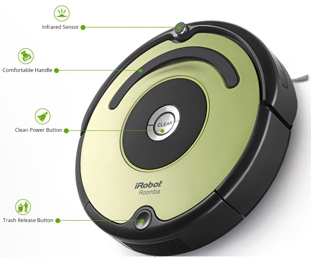iRobot Roomba 529 Intelligent Robot Vacuum Cleaner 1200PA Strong Suction 3000mah Battery Capacity 32CM Climb Capability 600ml Dust Box Capacity Low Noise - Green