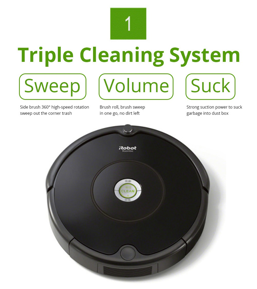 iRobot Roomba 615 Intelligent robot vacuum cleaner 3-Stage Cleaning System Dirt Detect Sensor 90 Minutes Running Time Anti -Drop For Pet Hair Carpets And Hard Floors - Black
