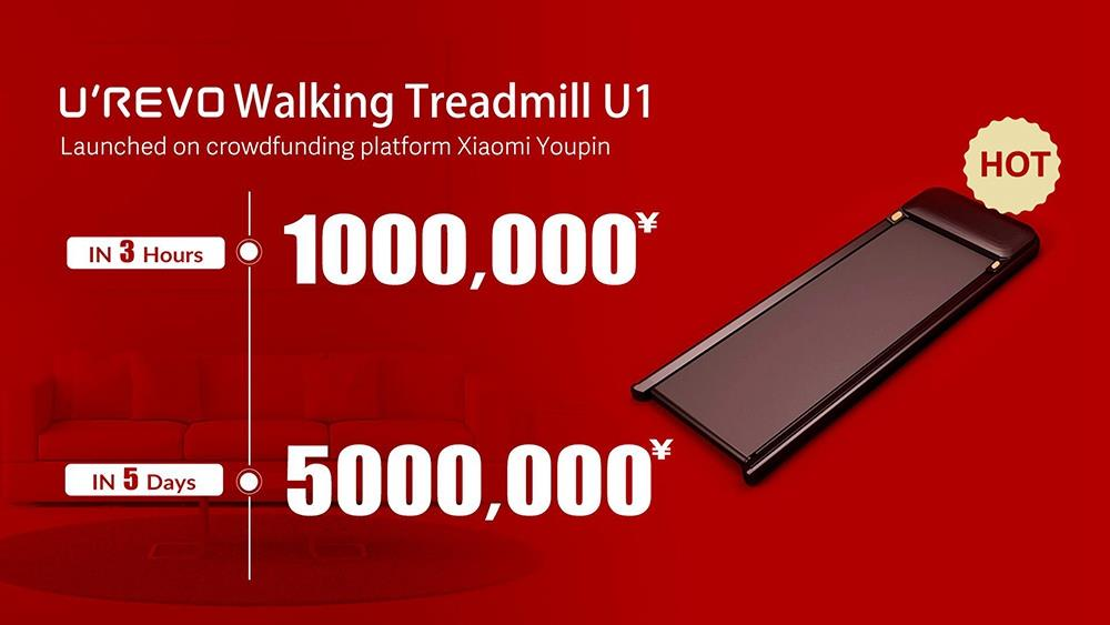 Urevo U1 Fitness Walking Machine Ultra Thin Smart Treadmill Outdoor Indoor Exercise Gym Equipment LED Display Wireless Remote Control 3 Speed Adjustable From Xiaomi Youpin- Black