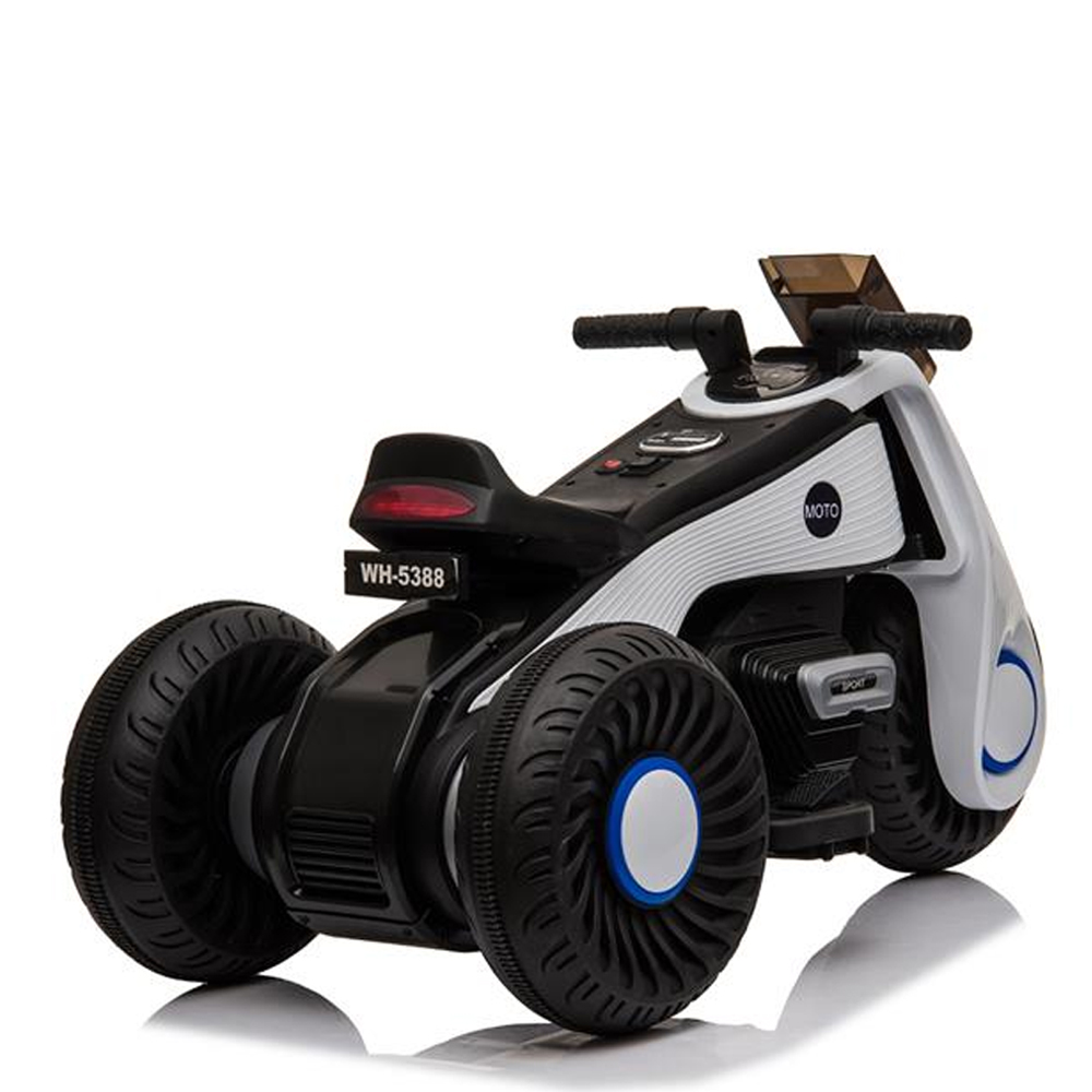 Children's Electric Motorcycle 3 Wheels Double Drive With Music Playback Function - White
