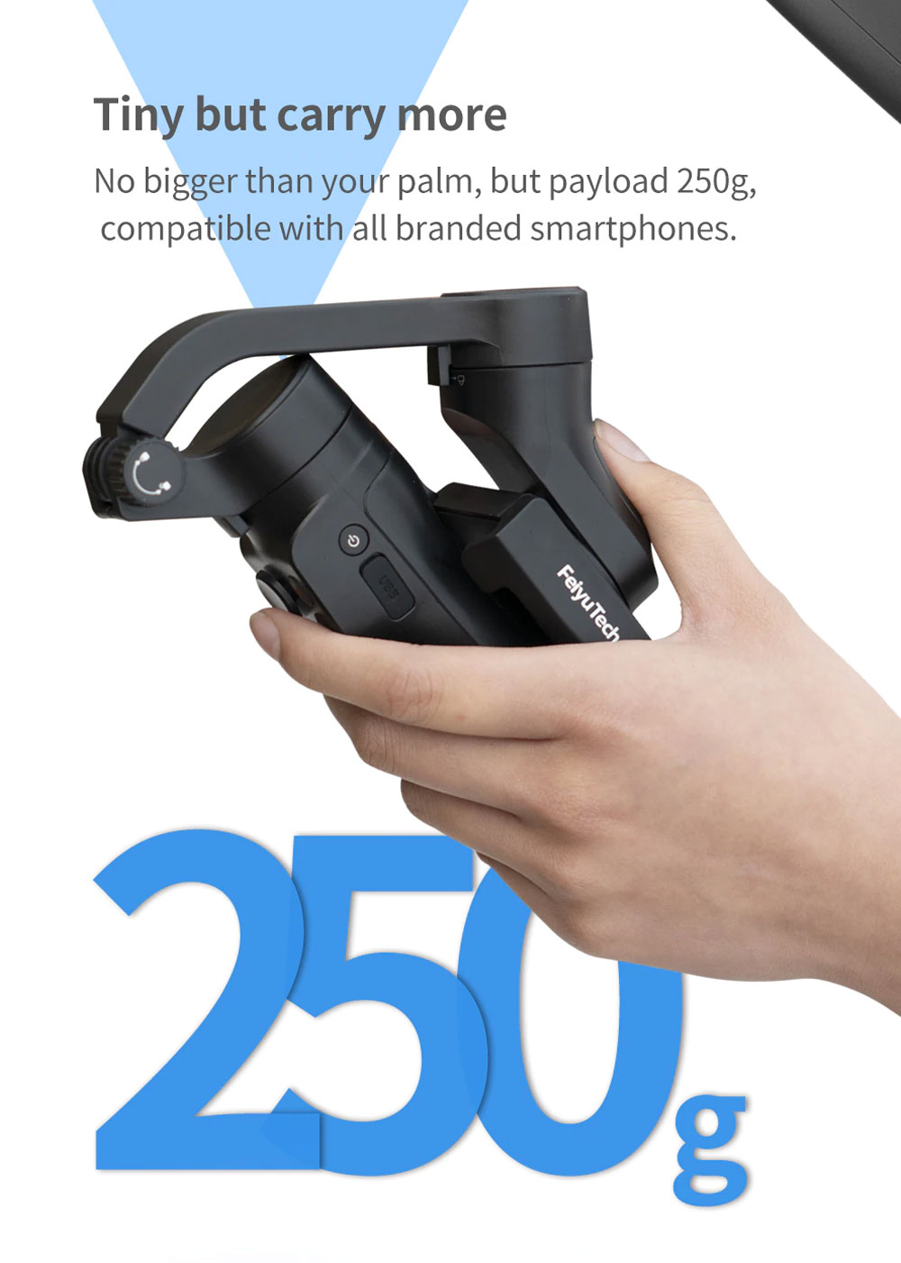 FeiyuTech VLOG Pocket 2 Foldable 3-Axis Handheld Gimbal Stabilizer Joystick Zoom for Smartphone - Black
