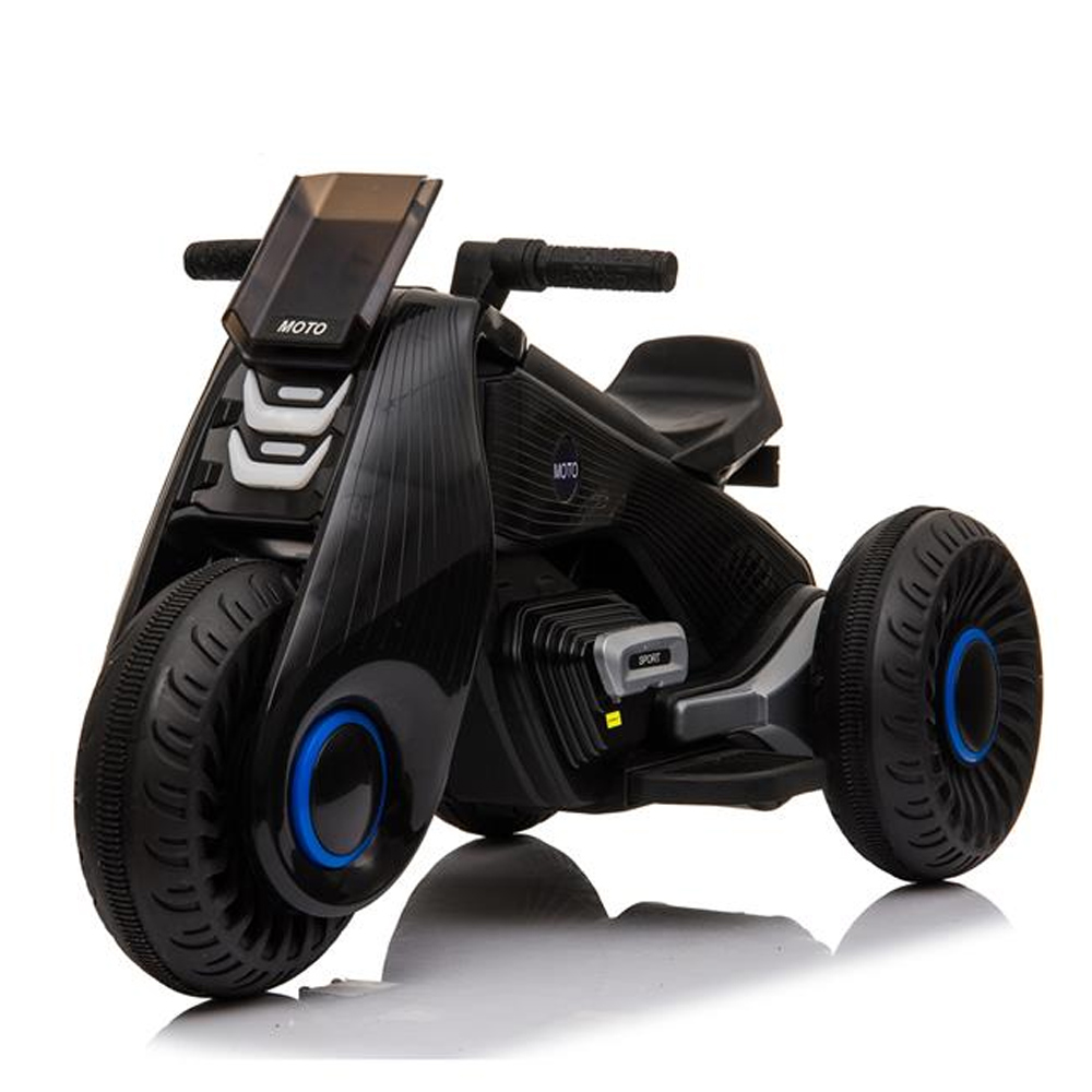 Children's Electric Motorcycle 3 Wheels Double Drive With Music Playback Function - Black