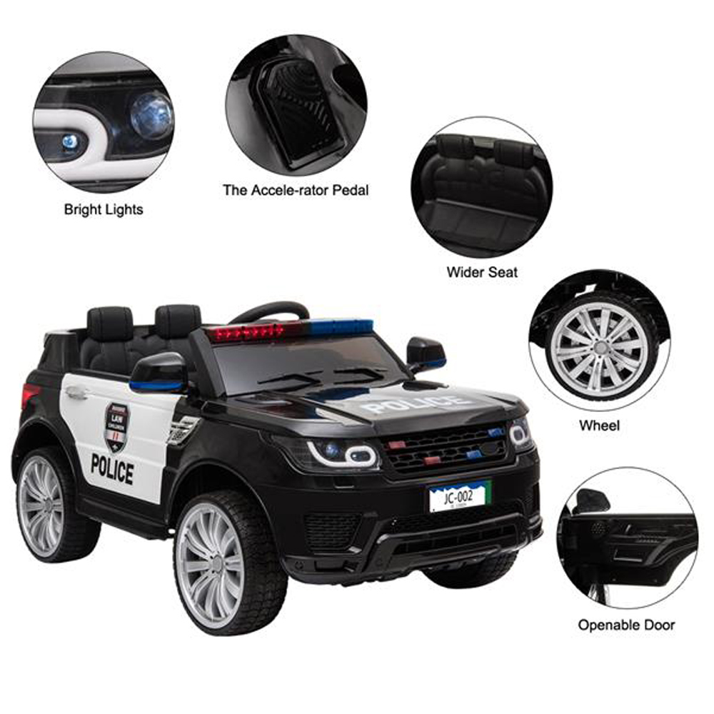 LEADZM JC002 Kids Police Ride On Car 12V 2.4G Electric Cars with LED Light Music and Horn.- Black