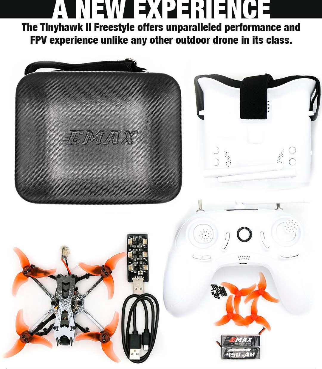 EMAX Tinyhawk II Freestyle 2.5 Inch FPV Racing Drone  5A ESC Frsky D8 Runcam Nano 2 Camera with Goggles - RTF