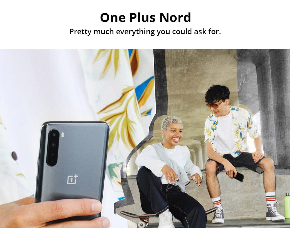 OnePlus Nord 5G Smartphone Global Version 6.44 Inch Fluid AMOLED 1080 x 2400 402PPI Screen Qualcomm Snapdragon 765G Android 10.0 12GB RAM 256GB ROM Dual Front Quad Rear Camera 4115mAh Battery - Blue Marble