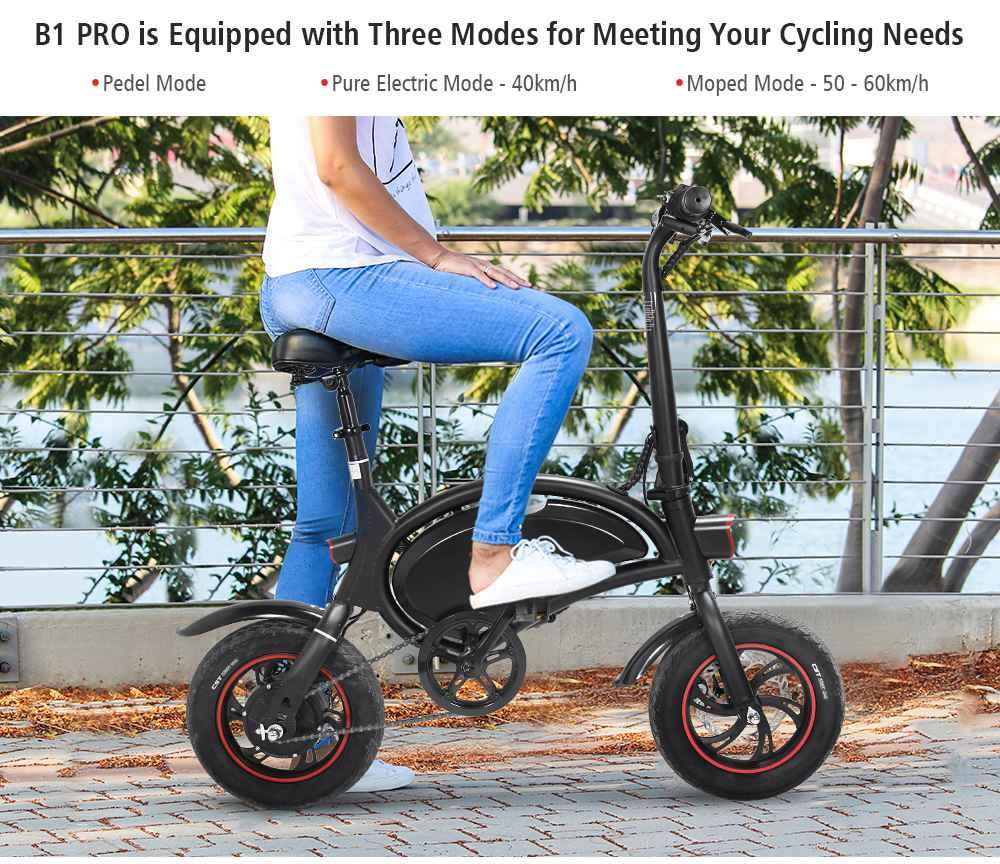 KUGOO Kirin B1 Pro Folding Moped Electric Bike E-Scooter with Pedals 250W Brushless Motor Max Speed 25km/h 10AH Lithium Battery Disc Brake 12 Inch Pneumatic Tires - Black