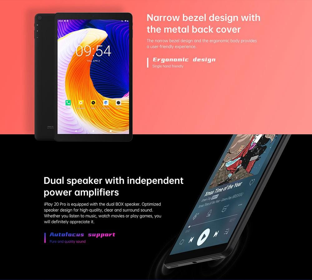 ALLDOCUBE iplay20 PRO UNISOC SC9863A A55 Octa Core 6 Go de RAM 128 Go ROM 10.1 pouces Android 10.0 4G LTE tablette