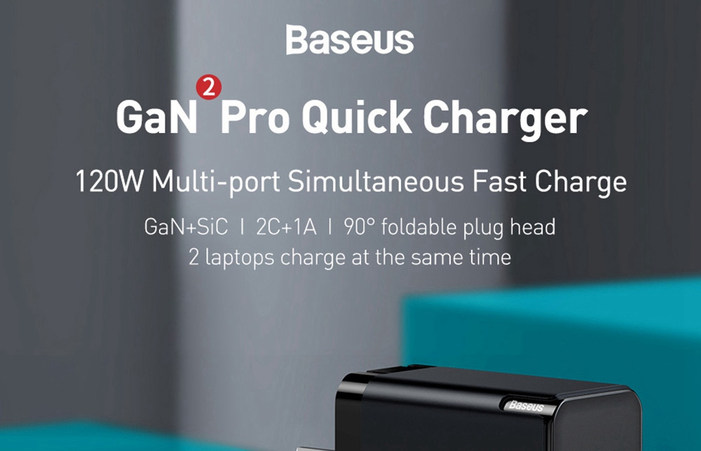 Baseus GaN +SiC Tech Mini Quick Charger C+C+A 120W with 1m Type-C to Type-C 100W Fast Charging Cable US Plug - Black