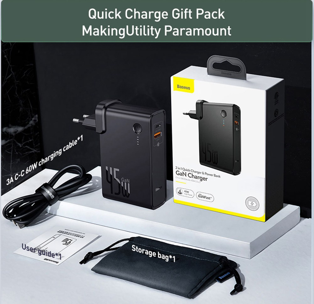 Baseus GaN 2 In 1 45W USB-C Wall Charger PD Fast Charging  + Power Bank 10000mAh Battery PD3.0 QC3.0 Power Delivery Quick Charge Power Supply For iPhone 11 SE 2020 For iPad Pro 2020 Xiaomi 10 Huawei P40 Pro Eu Port - Black