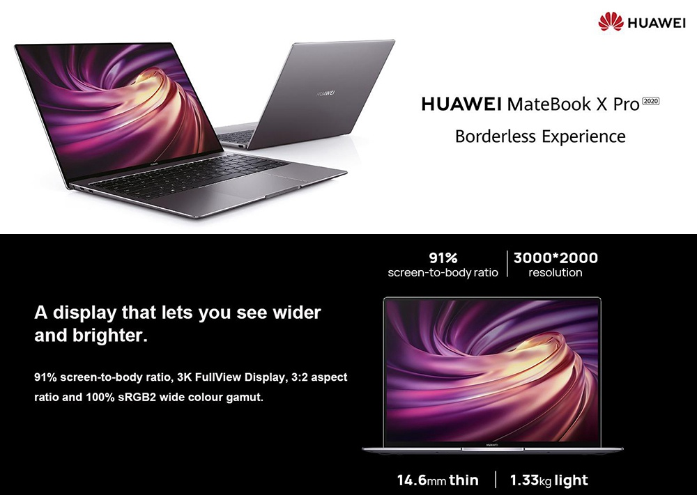 Huawei MateBook X Pro 2020 Laptop Intel Core i7-10510U 13.9 Inch Touch Screen 3K High Resolution 100% sRGB  NVIDIA GeForce MX250 16GB 1TB WiFi 6 NFC 56Wh Battery Type-C Fast Charging Fingerprint Windows 10 Notebook  - Emerald Green
