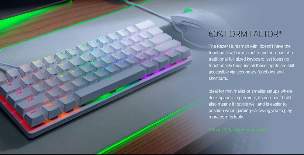 Razer Huntsman Mini 60% Gaming Πληκτρολόγιο RGB Lighting PBT Keycaps Onboard Memory Clicky Optical Switches