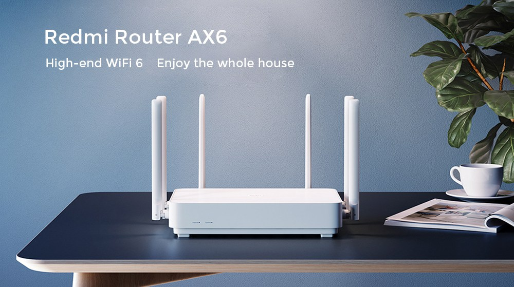 Xiaomi Redmi AX6 Router 5 Core WiFi 6 Dual Band Wireless WiFi Router Support Mesh OFDMA 2976MBps 6xAntennas 512MB Wireless Signal Booster Children Protection - White