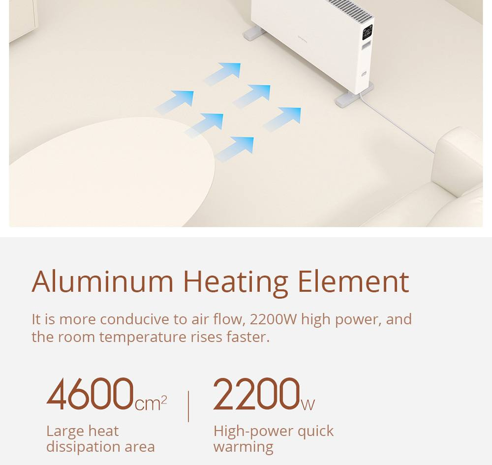 Smartmi 1S Electric Heater Smart Version IPX4 Waterproof Touch Screen APP Remote Setting Timing 1600W for Home Office from Xiaomi Youpin - White