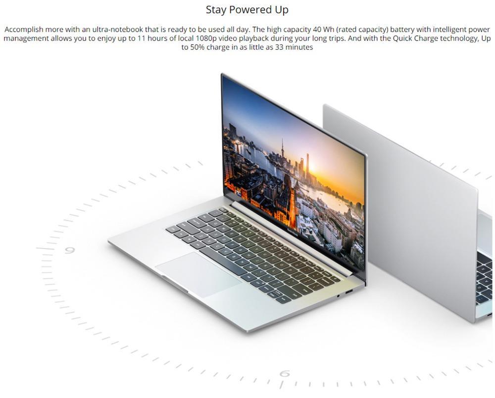 Ноутбук Xiaomi Redmibook 14 II Intel Core i5-1035G1 14-дюймовый экран 1920 x 1080 FHD 100% sRGB 16G DDR4 512GB SSD MX350 Dual WiFi 6 Band Полнофункциональный ноутбук Type-C Windows 10 Home - Sliver