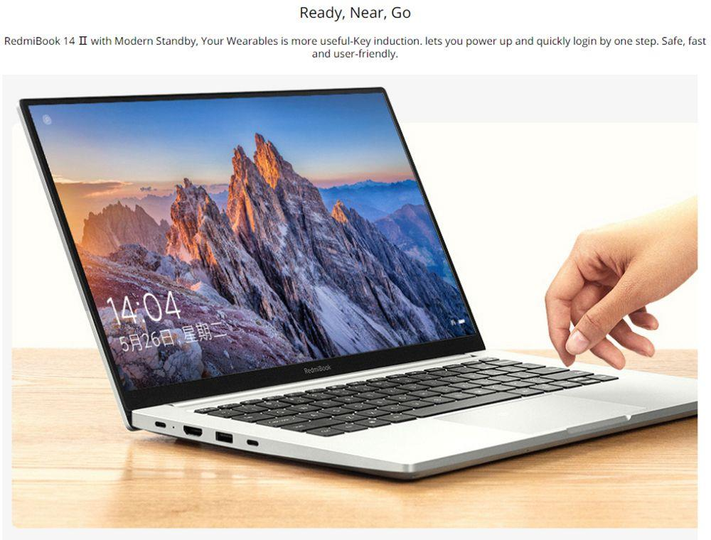 Xiaomi Redmibook 14 II Laptop Intel Core i7-1065G7 14 Inch 1920 x 1080 FHD Screen 16GB DDR4 512GB SSD MX350 100%sRGB Dual WiFi 6 Band Full-featured Type-C Notebook Windows 10 Home - Sliver