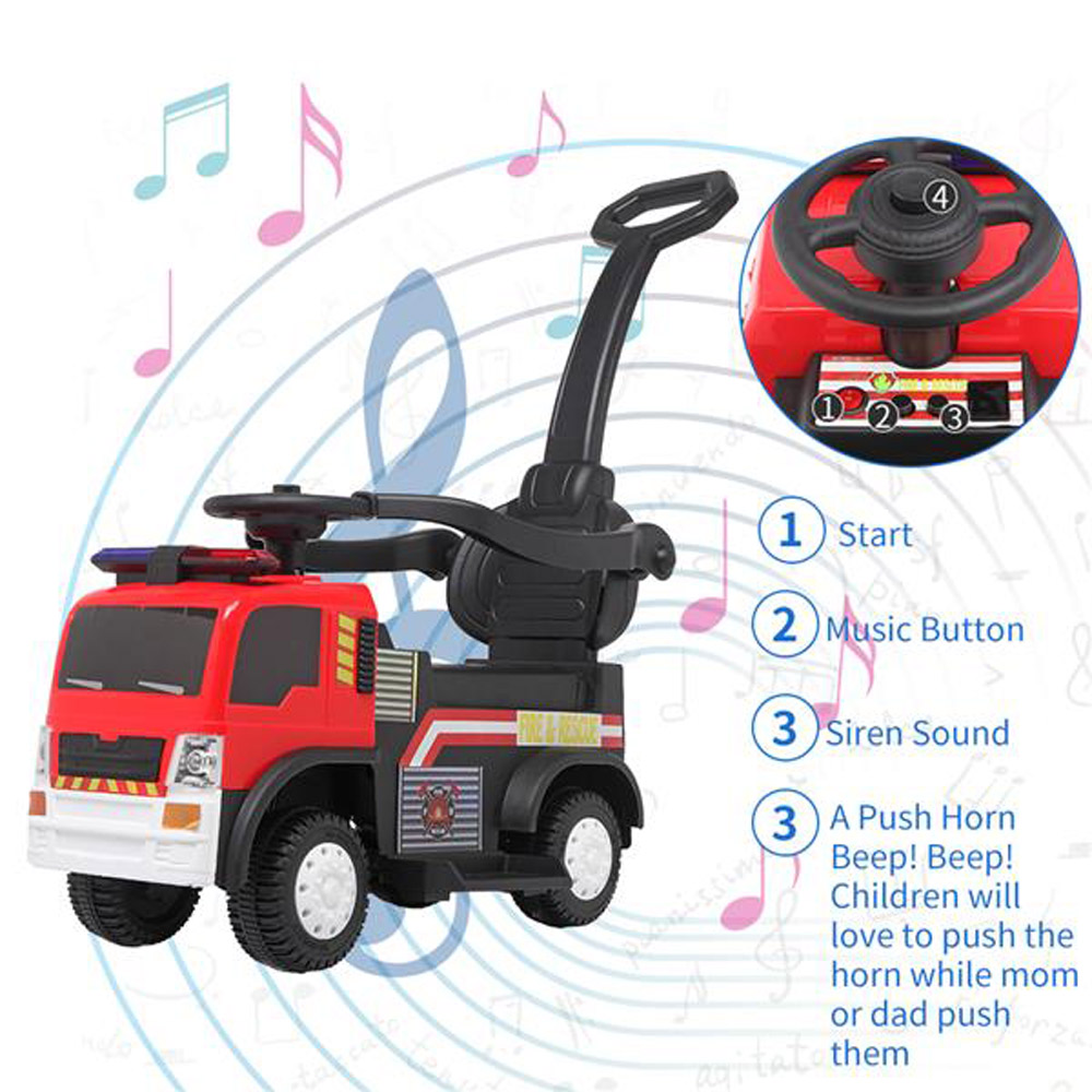 LEADZM JC008P Fire Truck with Music Function Push Handle