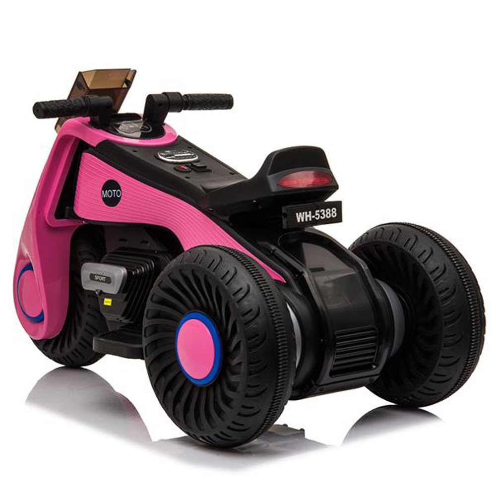 Children's Electric Motorcycle 3 Wheels Double Drive With Music Playback Function - Pink