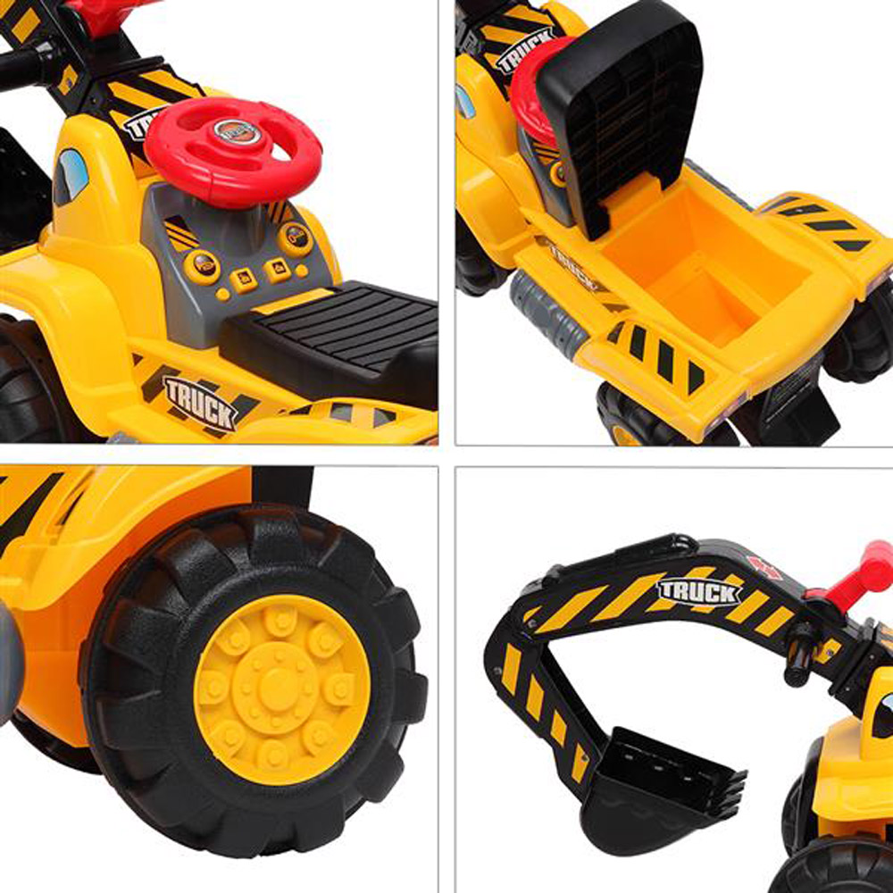LEADZM Children's Excavator Toy Car with Helmet Plastic Artificial Stones