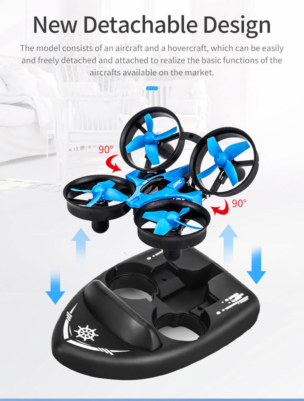 JJRC H36S 4 IN 1 Flying Drone Boat Flight Glider Hovercraft Ground Mode Detachable RC Quadcopter RTF - Two Batteries