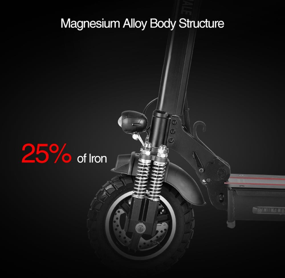 HONEY WHALE E5 Off-Road Electric Folding Scooter 48V 10Ah Battery 600W Motor 10 inch Tire 40km/h Max Speed 35-40km Mileage E-ABS Double Discs Brake Rear Light with Seat