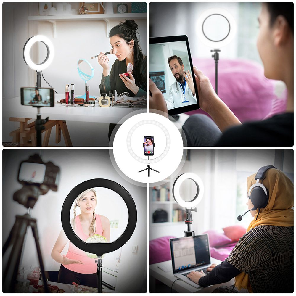 12 Inch Dimmable LED Selfie Video Ring Light with Tripod Stand Phone Holder for Youtube Tik Tok Live Streaming Makeup Lamp