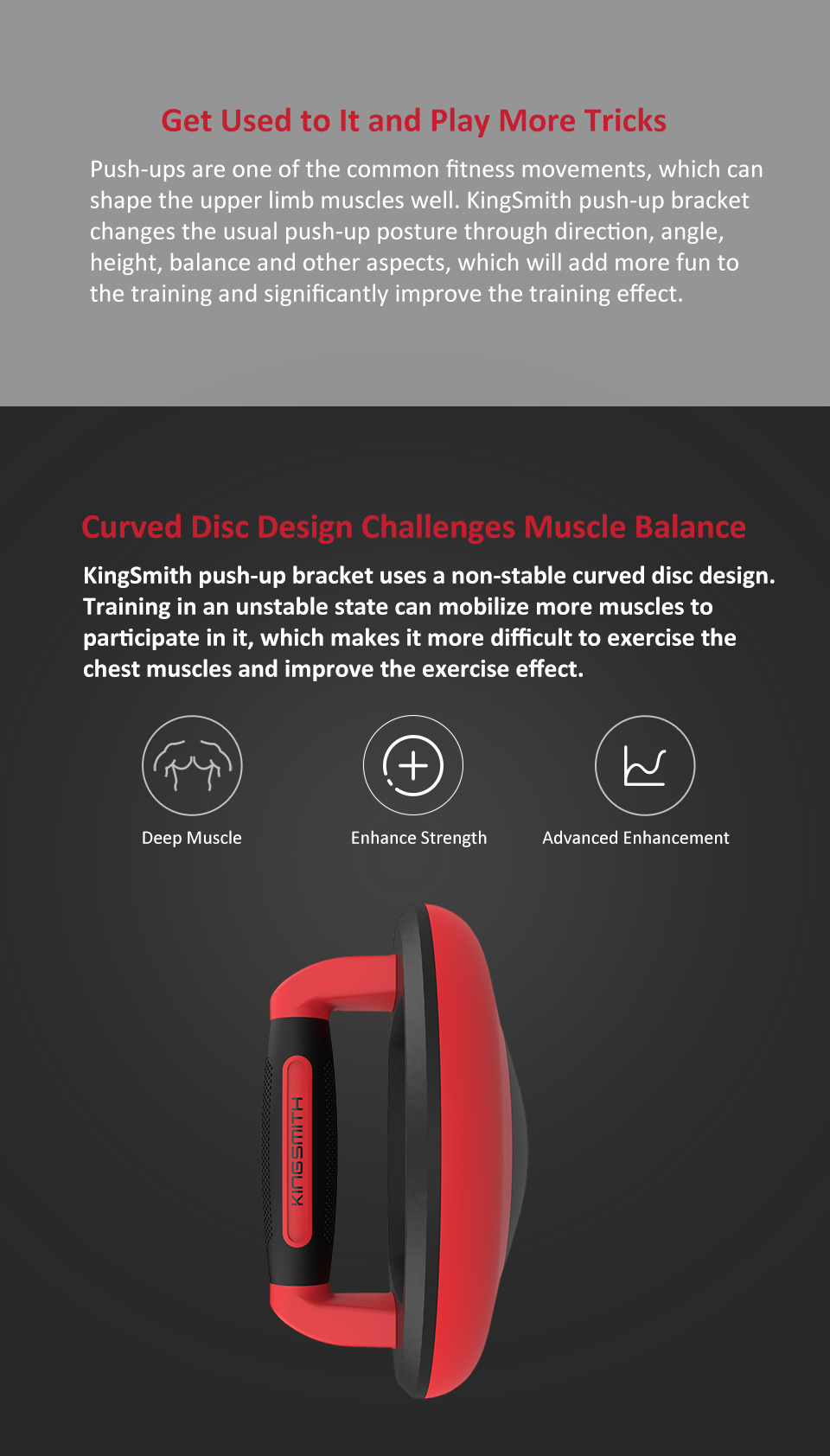 KINGSMITH Push-up Bracket Indoor Outdoor Sports Push Up Stand Rotated Curved Disc Removable Chassis Support Fitness Equipment For Arms Back Belly Core Training From Xiaomi Youpin - Red
