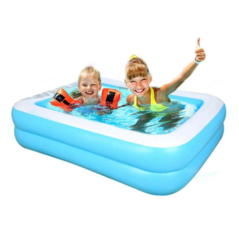 Kids Inflatable Swimming pool baby Adult Home Paddling pool Thick Wear-resistant 155*108*46cm/61.02*42.52*18.11inch inch Blue White