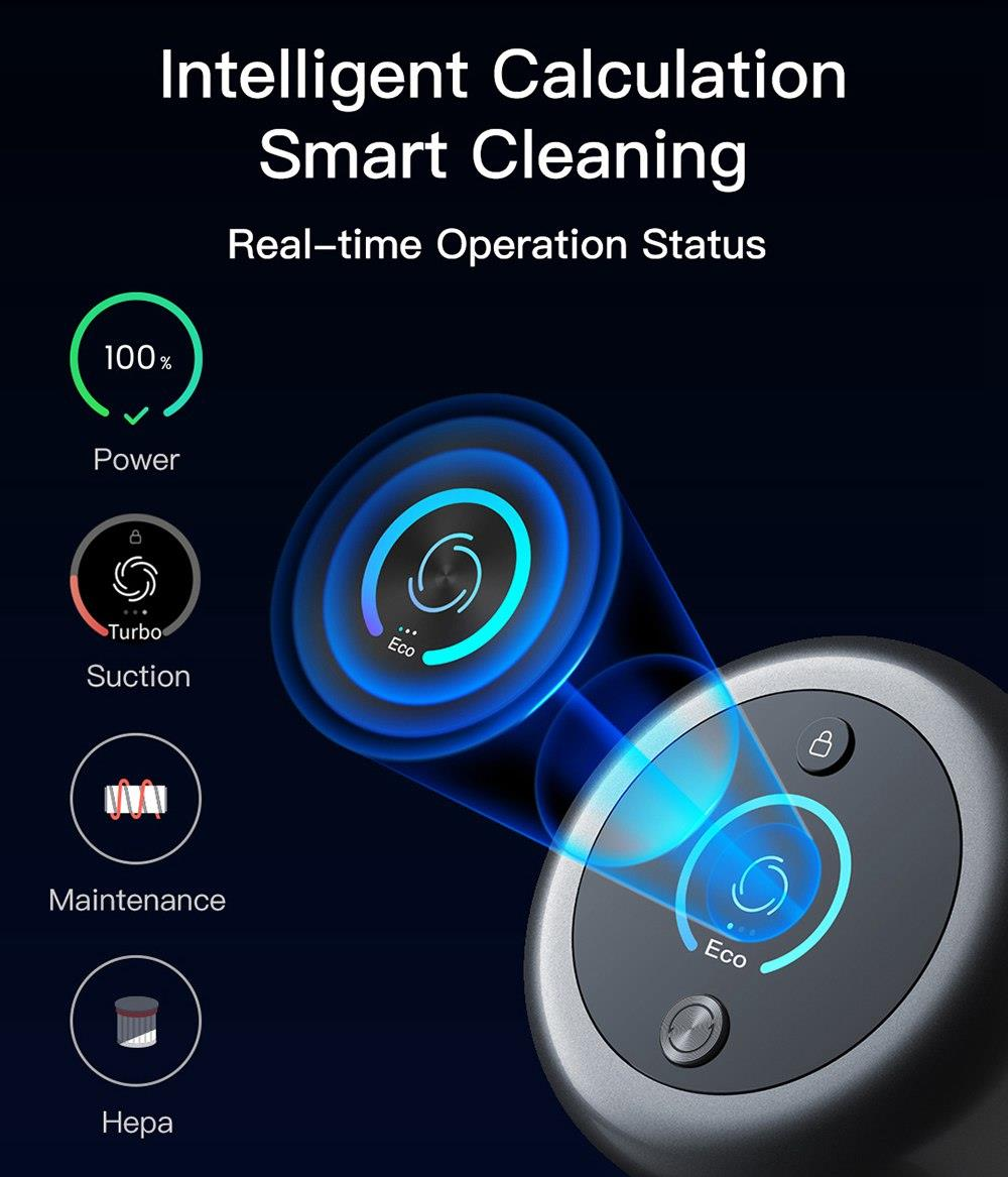 Dreame V11 Handheld Cordless Vacuum Cleaner 25Kpa Suction OLED Display Portable Multi-function All in one Dust Collector Floor Carpet Cleaner 450W Brushless Motor 3000mAh Battery EU Version - Grey