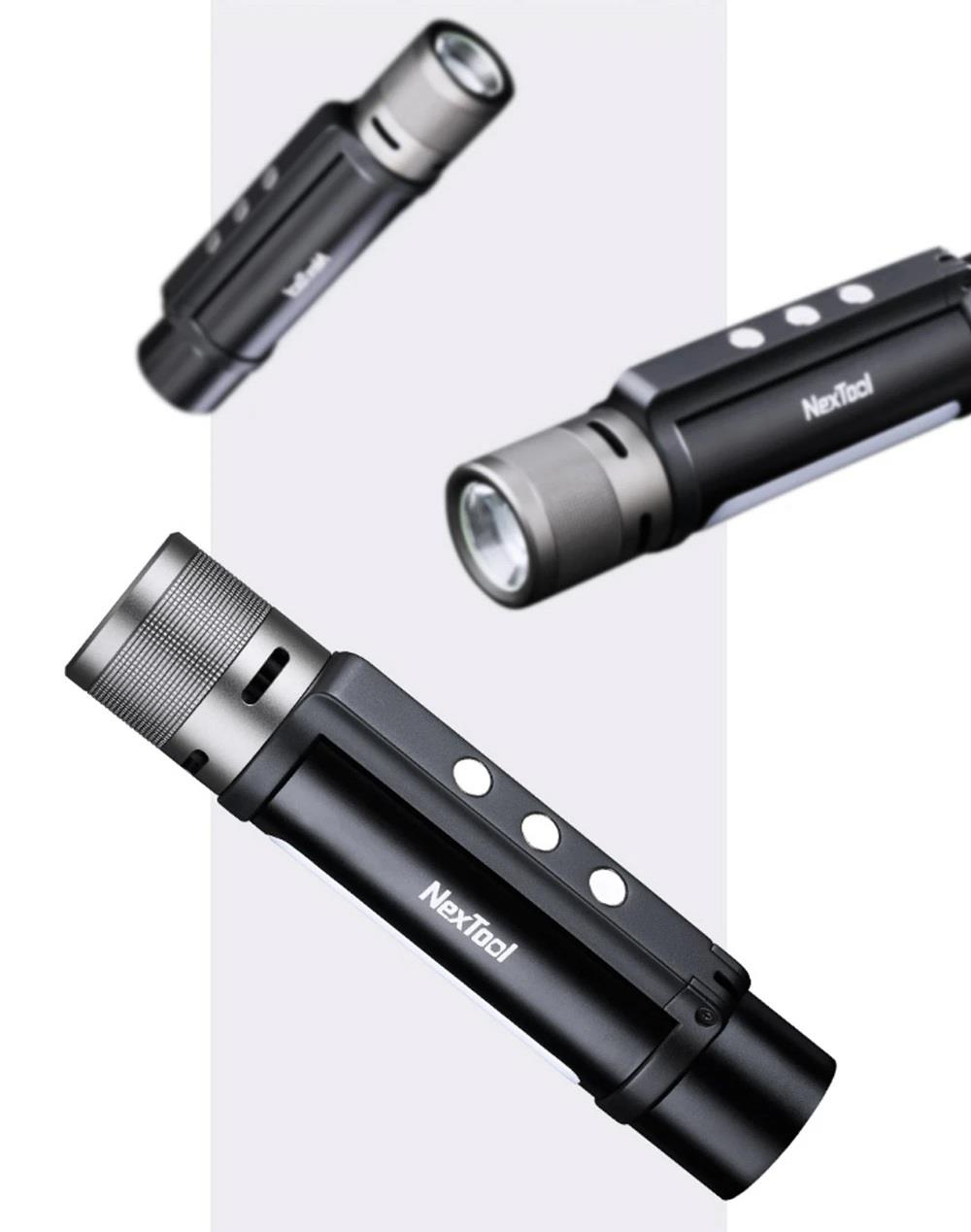 Nextool Outdoor Portable 6-in-1 LED Flashlight 1000 Lumens Lens Telescopic Focusing One-click Alert USB Charging IPX4 Waterproof From Xiaomi Youpin - Black