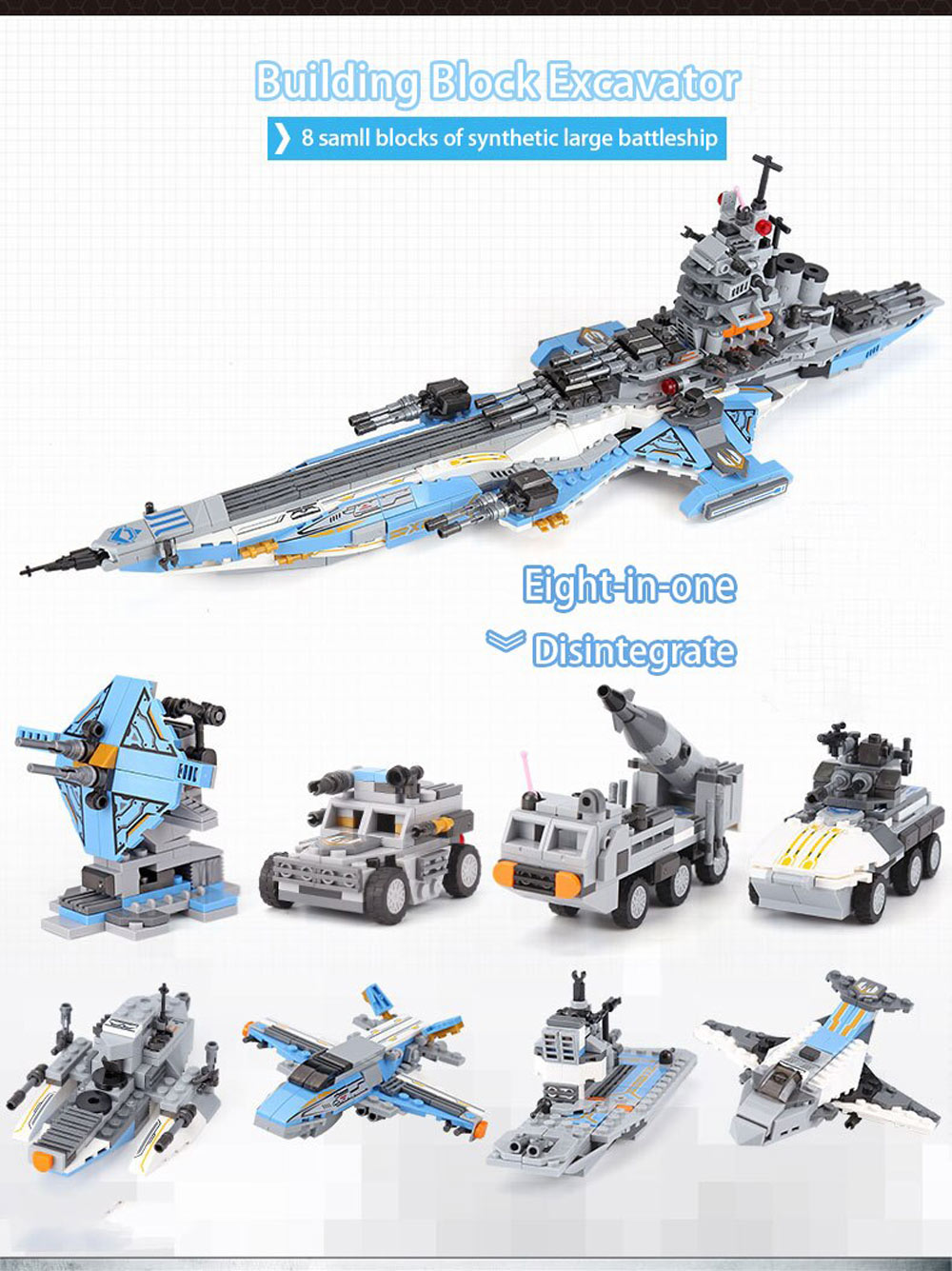 XINGBAO 13001 Space Battleship 8 in 1 Building Block Puzzle Toys