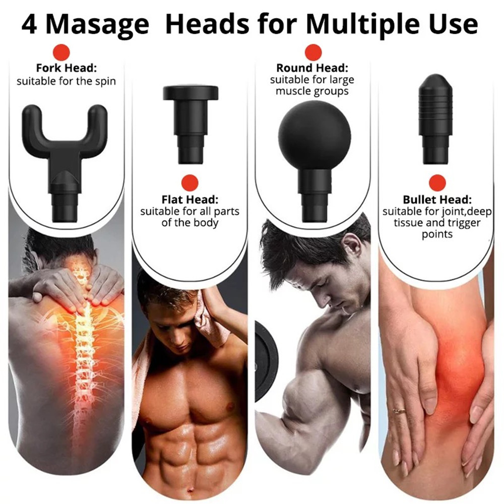 Handheld Mini Fascia Gun Muscle Massage Gun Meridian Depth Relaxer Fitness Shock Wave Physiotherapy Instrument for Slimming Shaping Body Neck Pain Relief - Black