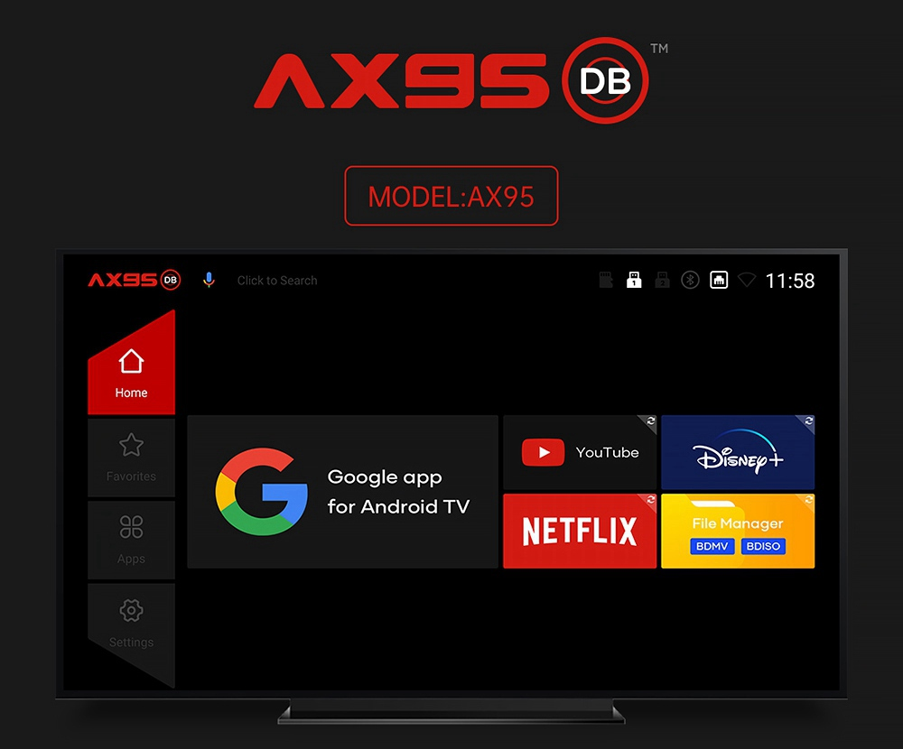 A95X DB Android 9.0 S905X3-B 4GB/64GB TV BOX 8K HDR 10+ 2.4G+5G Dual Band WIFI 100M LAN BDMV DOLBY