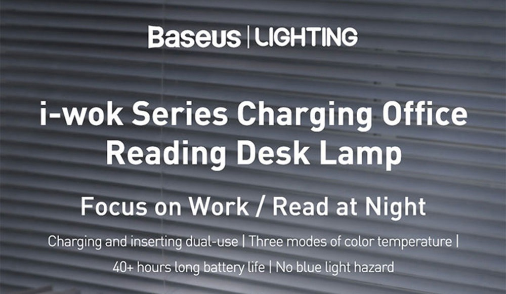 Baseus i-wok Series Chargeable Office Reading LED Table Lamp 100 Lumens 1800mAh Battery - White