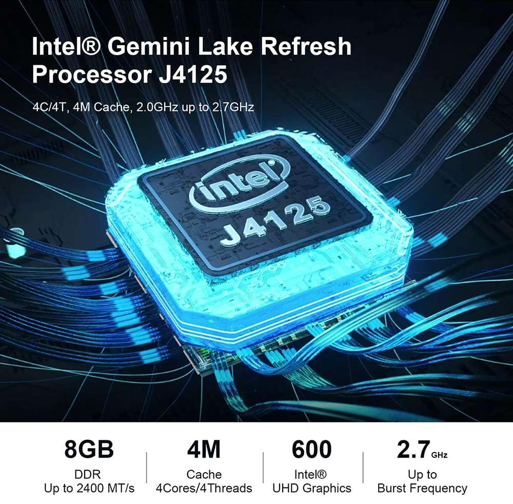Beelink GK55 Windows10 Mini PC Gemini Lake-R J4125 Quad Core 8 Go de RAM 128 Go SSD 2.4G + 5G WIFI HDMI * 2 RJ45 * 2